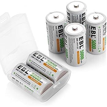 Amazon.com: EBL C Size Rechargeable Batteries Ni-MH 5