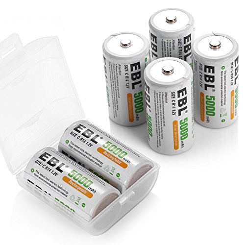 EBL C Size Rechargeable Batteries Ni-MH 5,000mAh C Cell Battery, 6 Counts