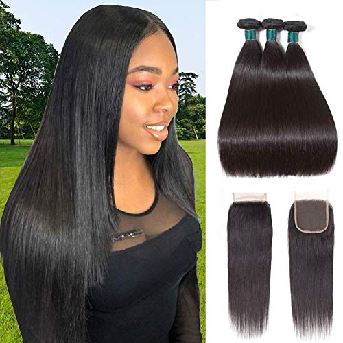 (Brazilian Straight Hair Bundles With Closure (16 18 20+14) 100% Unprocessed Virgin Human Hair Extensions Double Weave Weft with 4x4 Lace Closure Free Part Natural)