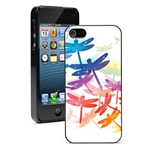 Apple iPhone 5C Black 5CB23 Hard Back Case Cover Colorful Dragonfly Design