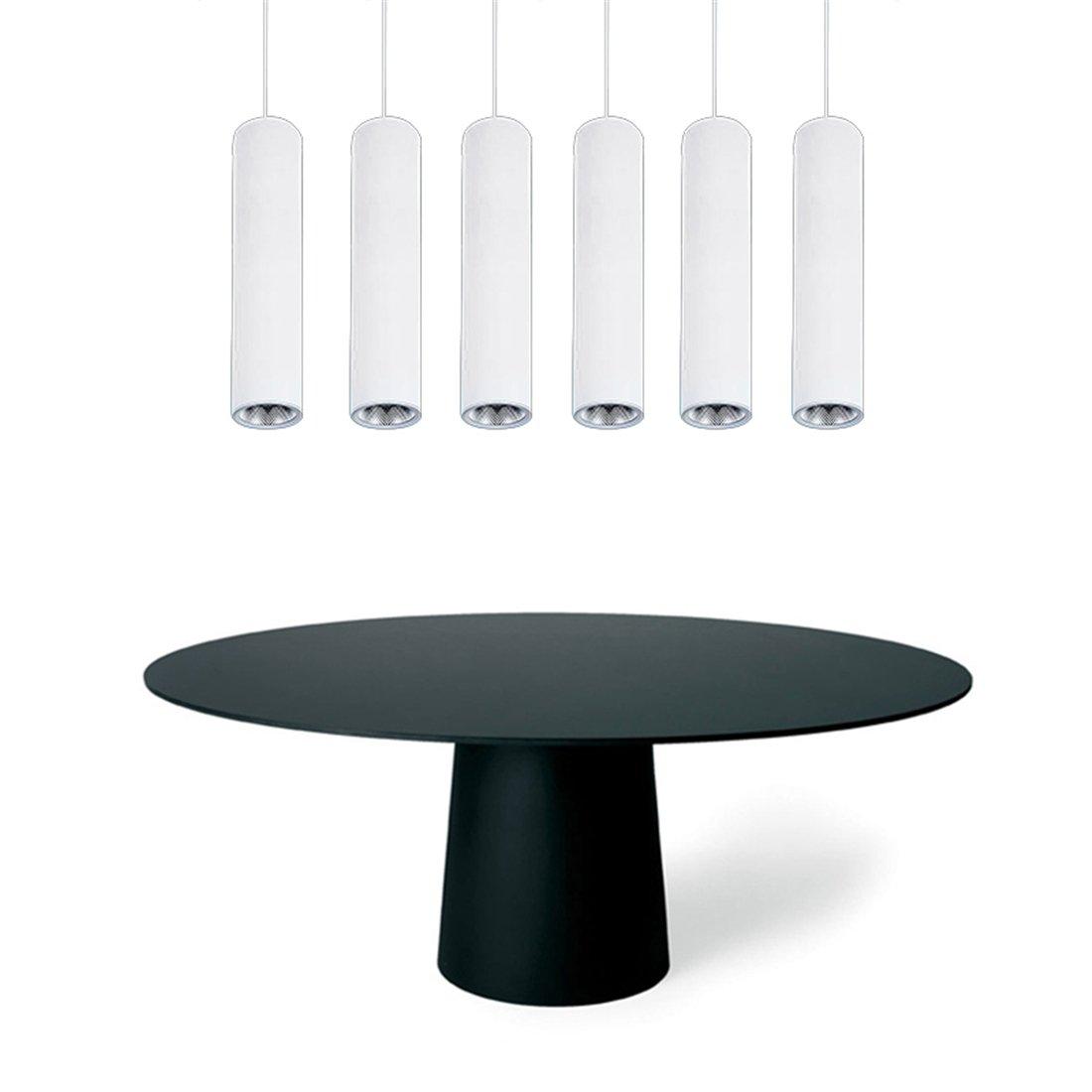 TOOGOO Bianco moderno lampadari di caffe minimalista ristorante a led bianco positivo faretti COB tubo lungo lampada a sospensione tavolo bar lampadario montato cilindrico