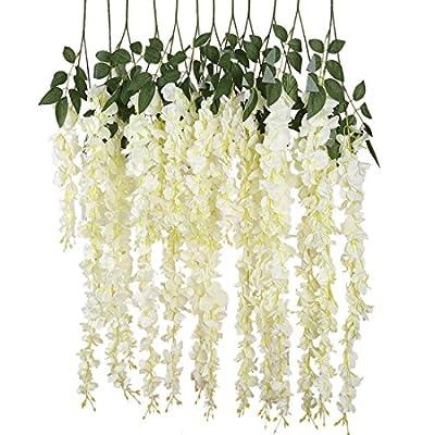 Luyue 3.18 Feet Artificial Silk Wisteria Vine Ratta Silk Hanging Flower Wedding Decor,6 Pieces,White