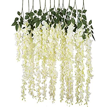 Amazon 50 pcs single artificial fake wisteria vine ratta silk luyue 318 feet artificial silk wisteria vine ratta silk hanging flower wedding decor6 pieceswhite mightylinksfo