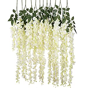 Luyue 3.18 Feet Artificial Silk Wisteria Vine Ratta Silk Hanging Flower Wedding Decor,6 Pieces 2
