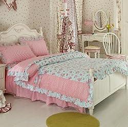 Joybuy Home Textile Romantic Pink Print Bedding Sets Princess Lace Ruffle Bedding Set Rural Princess Bedding Sets 4pcs Rural Seersucker Bedding Sets (5ft bed)