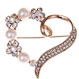Love Heart Brooch Pin Style Delicate Simulate Pearl Rhinestone Rose Gold Plated Cocktail Dess Gift