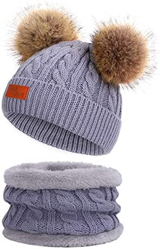 Toddler Beanie Woolen Hat Pure Color Winter Twist Double Pom Pom Boys Girls Cap for 1-3 Years Old