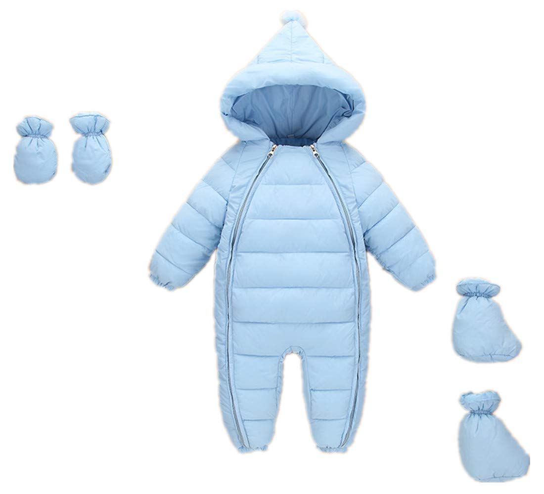 Ohrwurm 3 Pcs Baby Hoodie Jacket Infant Jumpsuit Down Cotton Snow Suit Winter Zip Up Overall Coat with Gloves Foot Cover Blue 5-12 Months by Ohrwurm