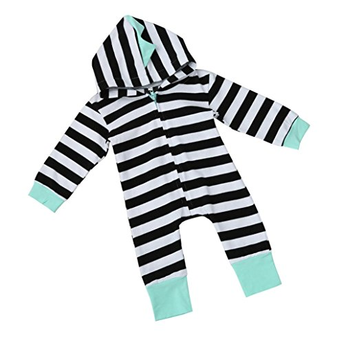 Letong Infant Newborn Baby Boy Girl Kids Cute Stripe Hooded Romper Jumpsuit Clothes (18-24 Months, Black) by Letong