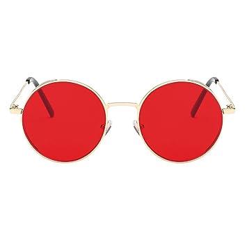 F Fityle Gafas de Sol Polarizada Lentes Redondas Espejadas Protección Solar UV 400 Anteojos para Conducción Deportes al Aire Libre - Estilo 1-Rojo: ...