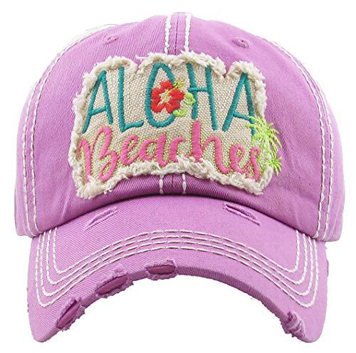 H-212-AB61 Distressed Baseball Cap Vintage Dad Hat - Aloha Beaches (Lavender)