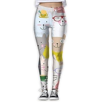 Jack16 - Pantalones de Yoga para Mujer, diseño de Gatos: Amazon.es ...