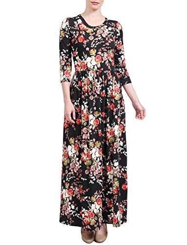 J. J. Lovny Women's Casual 3/4 Sleeve V Neck Printed Maxi Dress W/pockets 2222037 Casual Manches 3/4 Maxi Robe Imprimé Col V Femmes Lovny W / Poches 2222037