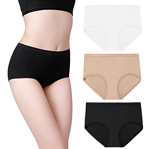 d7f05005e8f3 wirarpa Women's High Waisted Cotton Stretch Underwear Breathable Brief  Panties Assorted Solid 3 Pack Medium