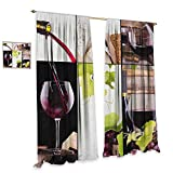 homefeel Wine Patterned Drape for Glass Door Wine Collage with Barrel Bottle Wineglass Grape Gourmet Taste Beverage Decor Curtains by W96 x L108 Burgundy Pale Green White