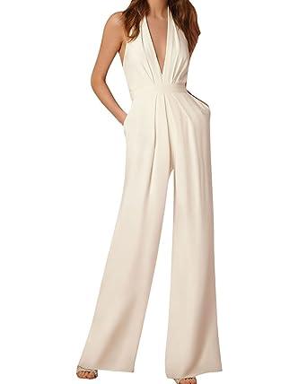 Großhandelspreis sehr bekannt gemütlich frisch Damen Elegant Jumpsuit Lang Hosen V-Ausschnitt Ärmellos Frauen Overall  Party Abendmode