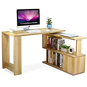 Amazon Com Tribesigns Modern L Shaped Desk Rotating Corner Computer Desk Study Writing Table