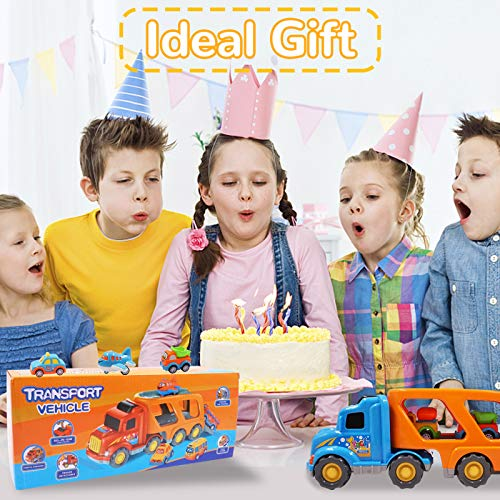 7 in 1 Construction Toys Trucks for 3 4 5 6 Year Old Boys Girls, Toddler Toy Cars with Sound and Light,Toy Vehicle Playsets with Large Carrier Truck and 6 Pull Back Cars,Ideal Gifts for Kids 2+