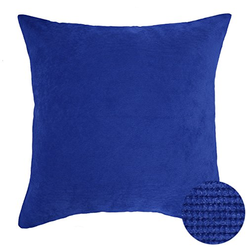 Deconovo Throw Pillow Corduroy Home Decorative Hand Made Pillow Case Cushion Cover For Travel, 18×18-inch, Blue