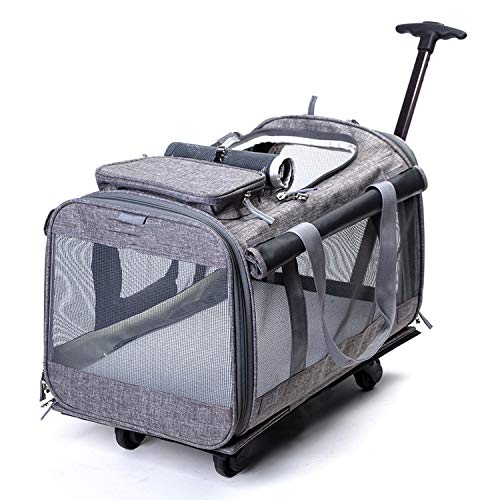 10Kg Breathable Pet Nest Carrier Backpack Dog Cat Portable Trolley Four Wheel Pet Bag Outdoor Travelling Puppy Luggage Cw073,Light Gray,M