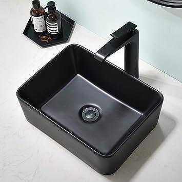 matte black bathroom vessel sink above counter somrxo 16 x12 black ceramic bathroom sink rectangle top mount porcelain ceramic vessel vanity sink