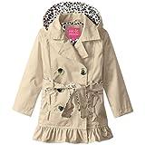 Pink Platinum Big Girls Leopard Lining Trench Raincoat Jacket, Khaki, 7/8