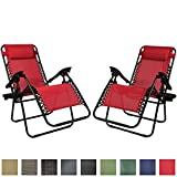 Sunnydaze Red Outdoor Zero Gravity Lounge Chair with Pillow and Cup Holder, Set of Two Review