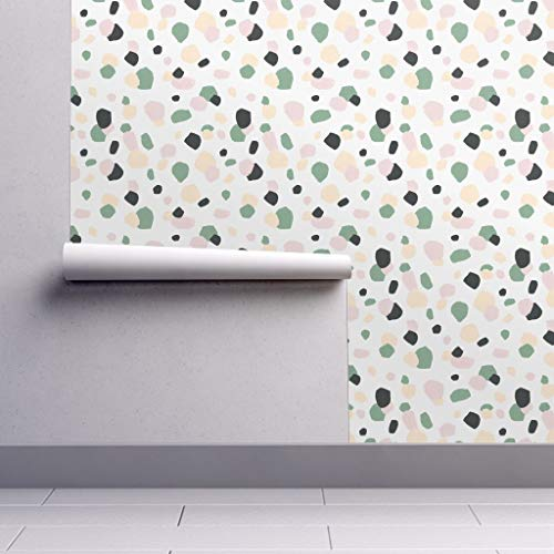 (Removable Water-Activated Wallpaper - Terrazzo Abstract Confetti Stone Camouflage Nursery Gender Neutral by Julia Dreams - 12in x 24in Smooth Textured Water-Activated Wallpaper Test Swatch)