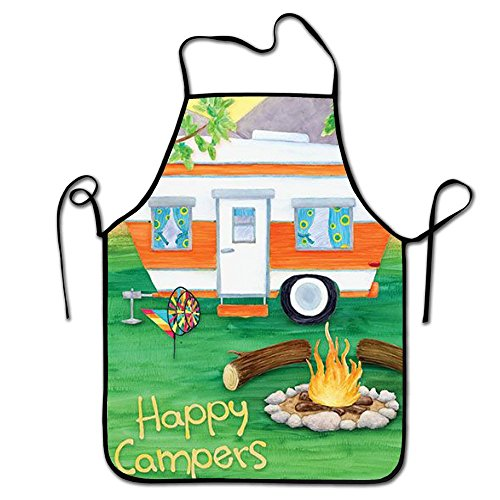 RESULT LOVE Happy Campers Gardening Apron Serving Apron Durable Adjustable Easy Care Aprons