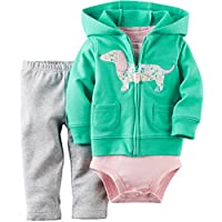 Carter's Baby Girls' 3-Piece Hooded Cardigan Set (3 Months, Turquoise/Dog)