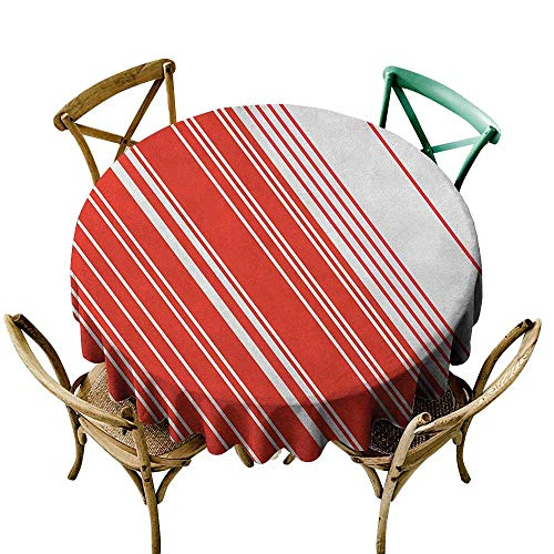 Wendell Joshua Mermaid Tablecloth 50 inch Candy Cane,Diagonal Barcode Patterned Lines on White Background Abstract Geometric Design, Red White Great for Buffet Table, Parties, Holiday Dinner & More ()