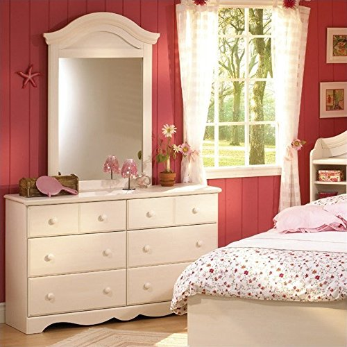 South Shore Summer Breeze Kids Twin Wood Bookcase Bed 3 Piece Bedroom Set in Vanilla Cream