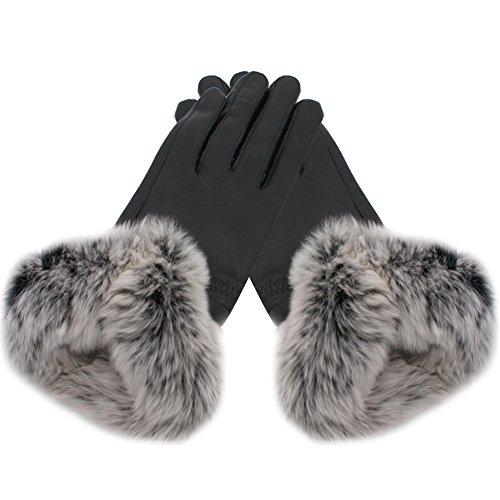 IFSUN Women's Rex Rabbit Fur Cuff Cashmere Lined Winter Leather Gloves
