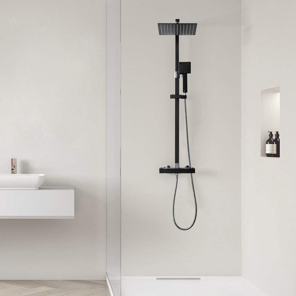 Einstellbare Duschrohrs 90 bis130cm AuraLum schwarz Duschset Duschkopf Mischbatterie 3 Funktion Duschsystem mit Brause Wasserhahn Duschk/öpfe Duscharmatur Brauseset