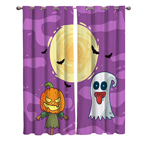 BABE MAPS 2 Panel Set Blackout Curtains Halloween Ghost and Pumpkin Darkening Window Curtain Thermal Insulated Grommet Drape Panels for Living Room and Bedroom 40
