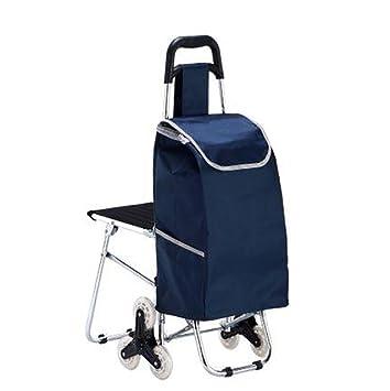 GAYY Carrito de la carretilla, cesta de compras Carrito plegable Supermercado Carro de la mano Carrito de la utilidad de 3 ruedas Suministros de viaje con ...
