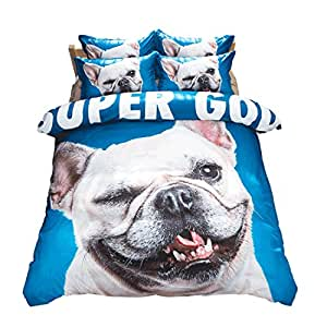Cute dog animal blue/white Home Comforter Bedding Sets Duvet Cover Sets Bedspread ,Flat Sheet, Shams Set 4Pieces,(Full)for Adult Kids Teenage Teens