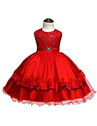 Flower Girls Princess Lace Bow Tutu Skirts Wedding Party Pageant Tulle Dresses