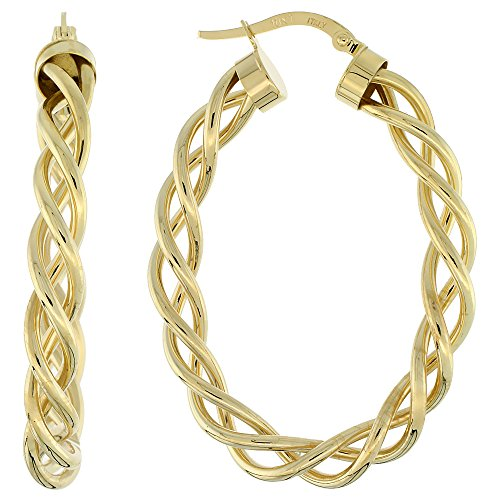 Oval Twisted Rope - 10K Yellow Gold Oval Hoop Earrings Twisted Rope Tubing High Polish Finish Italy 1 1/2 inch