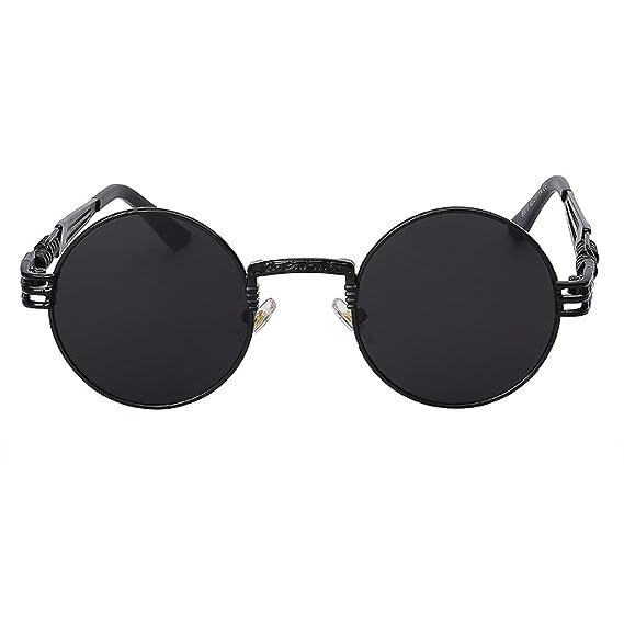 b1829c54747 Round Vintage Steampunk Unisex Black Retro Sunglasses  Amazon.in ...