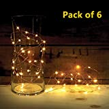 automatic battery led lights - ATTAV LED String Lights with Timer, Battery Operated 20 Micro LEDs on 7 Feet Ultra Thin Silver Coated Copper Wire, Starry Fairy Lights for Bedroom Christmas Party Wedding Dancing(6-Pack, Warm White)