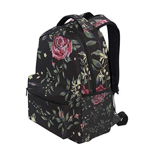 KVMV Embroidery Floral Seamless Pattern Red Roses Lightweight School Backpack Students College Bag Travel Hiking Camping Bags