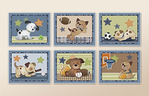 Bow Wow Puppy Buddies. Dogs and Sports Nursery Wall Art Prints (8