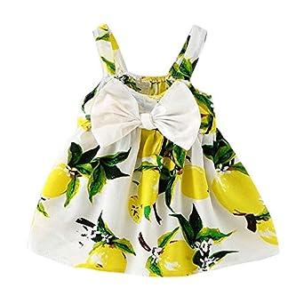 d0ce5618e64 Placehap New Branded Sundress Summer Baby Girl Dress Infant Children Dress  Bebes Lemon Newborn Girls Clothes First Birthday Dress for Kids 2   Amazon.in  ...