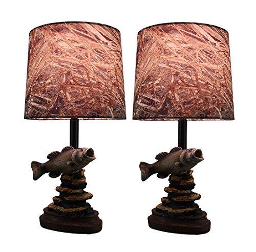 Zeckos Resin Table Lamps Set Of 2 Mossy Oak Fresh Catch F...