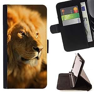 BullDog Case - FOR/Samsung Galaxy Core Prime / - / lion africa savannah jungle leader pack /- Monedero de cuero de la PU Llevar cubierta de la caja con el ID Credit Card Slots Flip funda de cuer