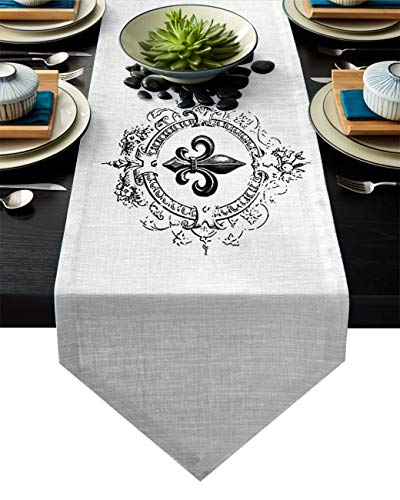 (Linen Burlap Table Runner Dresser Scarves, Vintage Royal Fleur De Lis Iris Flower Kitchen Table Runners for Dinner Holiday Parties, Wedding, Events, Decor - 14 x 72 Inch)