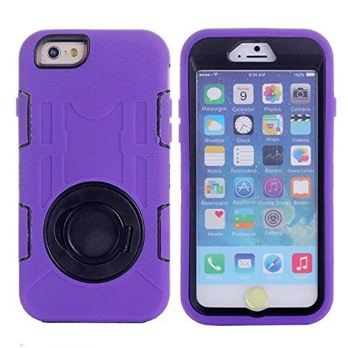 """Iphone 6 Coque Plus,Iphone 6S plus 5.5 """"Coque,Lantier 3 en 1 en caoutchouc dur + Hybrid PC Combo robuste avec Annulaire Béquille Couvercle de protection pour Apple Iphone 6 Plus/6S plus 5.5"""" Purple"""