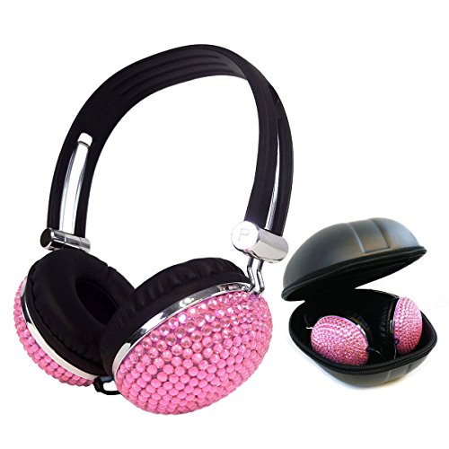 Kasstino Beautiful and Lovely Bling Style Crystal Handmade Diamante Retro Ear-Cup Headphones Headsets for Girls Women (Pink)