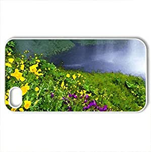 Beautiful flowers and waterfall - Case Cover for iPhone 4 and 4s (Waterfalls Series, Watercolor style, White)